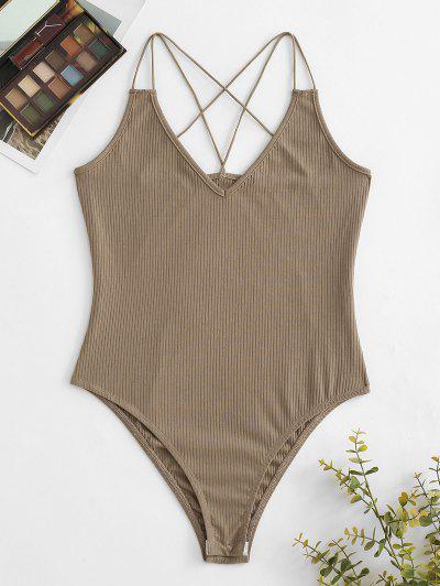 ZAFUL Dual Straps Rib-knit Snap Crotch Bodysuit - Light Coffee M