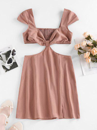 ZAFUL Cutout Cap Sleeve Smocked Slit Dress - Deep Coffee L