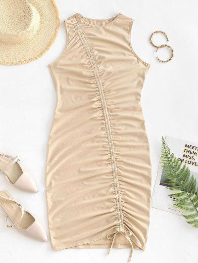 ZAFUL Cinched Ruched Slinky Bodycon Tank Dress - Light Coffee S