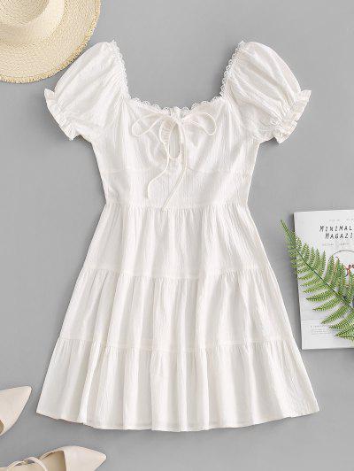 ZAFUL Lace Trim Puff Sleeve Tiered Milkmaid Dress - White S