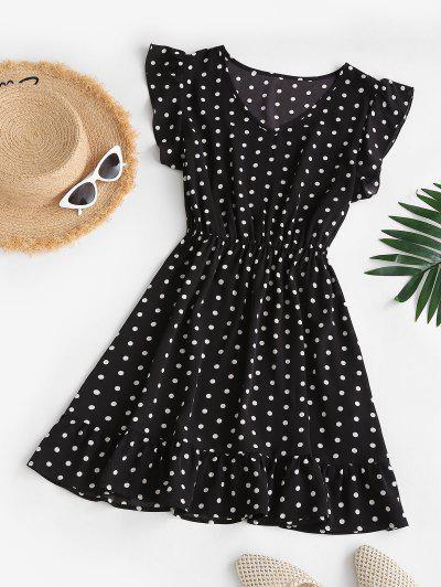 ZAFUL Polka Dot V Neck Ruffled Mini Dress - Black M