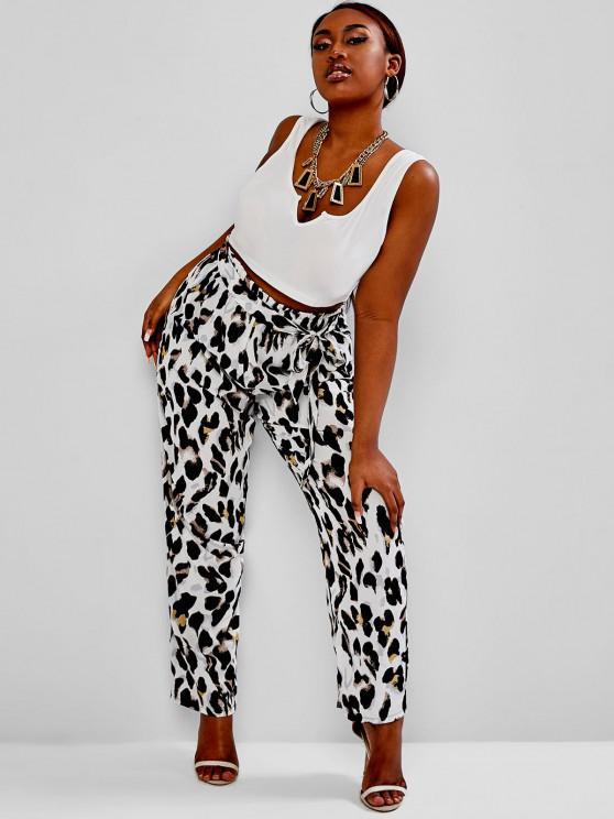 hot ZAFUL Plus Size V-notched Leopard Belted Paperbag Pants Set - MULTI L