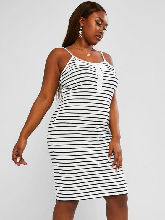 hot ZAFUL Plus Size Striped Mock Button Straight Cami Dress - MULTI 5XL