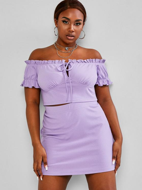 trendy ZAFUL Plus Size Frilled Ribbed Tie Two Piece Skirt Set - LIGHT PURPLE L