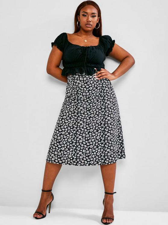 ladies ZAFUL Plus Size Cinched Ruched Top and Ditsy Print Skirt Set - BLACK 5XL