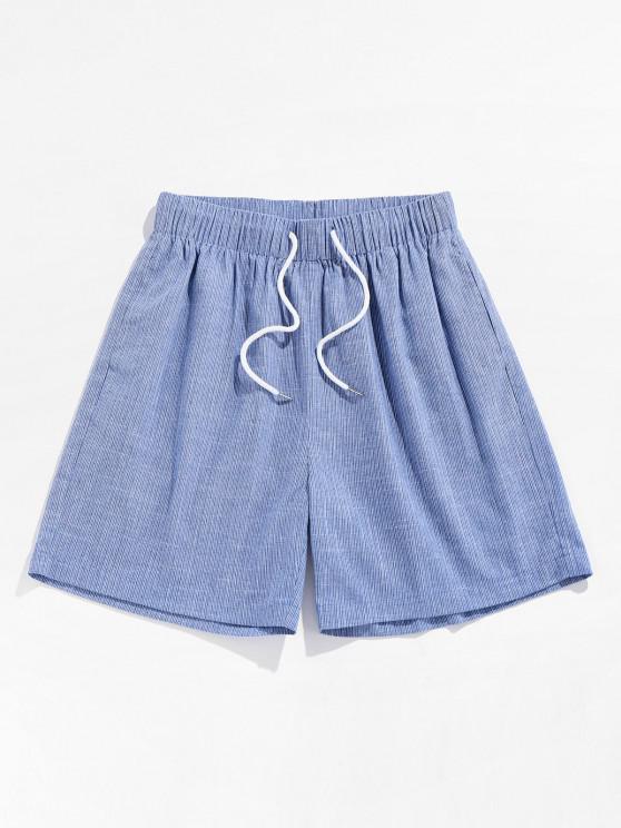 Pantaloncini da Spiaggia Stampati a Gessato con Coulisse di ZAFUL - Azzurro XL