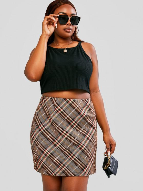 outfits ZAFUL Plus Size Ribbed Tank Top and Plaid Skirt Set - MULTI L