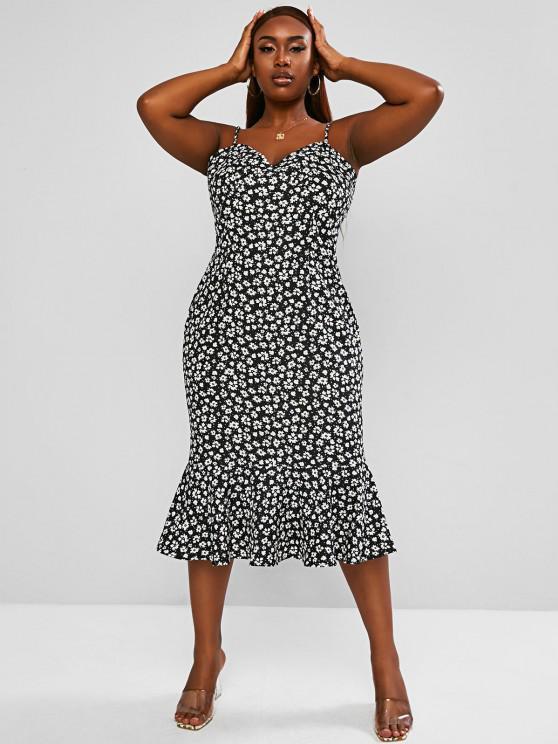 affordable ZAFUL Plus Size Daisy Print Pep Hem Cami Dress - BLACK XL
