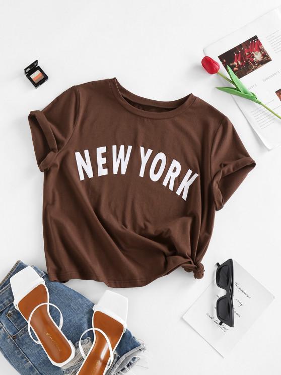 chic ZAFUL Basic New York Graphic Roll Sleeve Tee - DEEP COFFEE M
