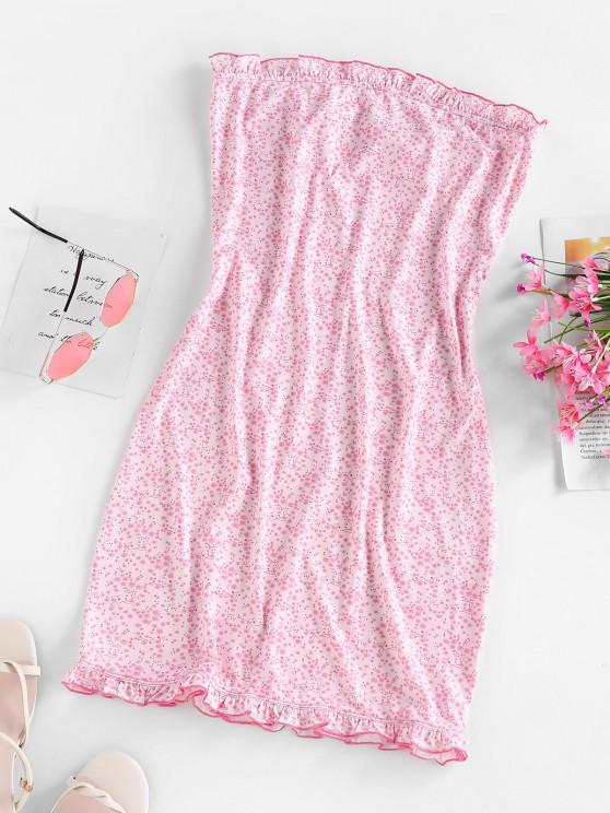 lady ZAFUL Ditsy Print Ruffle Mini Tube Dress - LIGHT PINK M