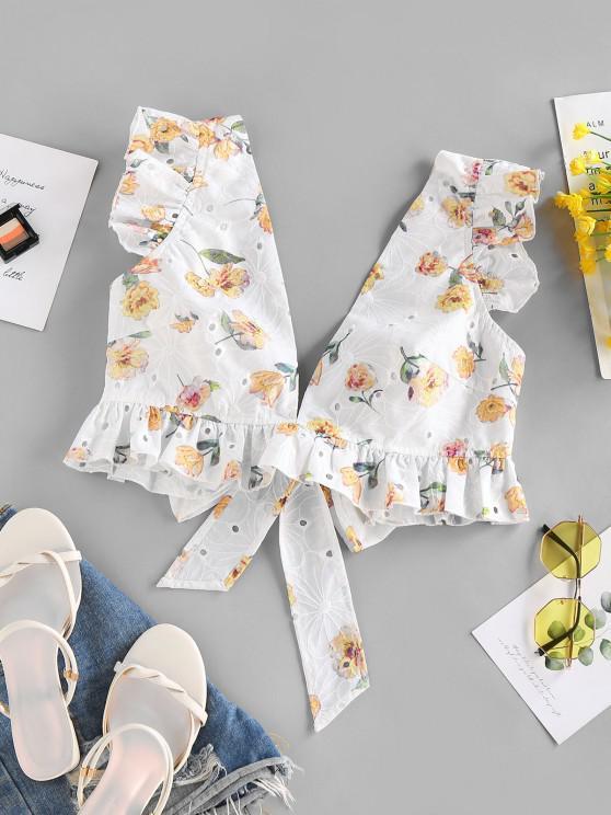 fancy ZAFUL Broderie Anglaise Flower Print Ruffle Crop Blouse - LIGHT YELLOW M