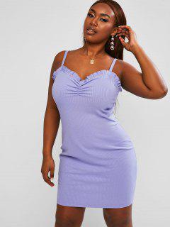 ZAFUL Ruched Frilled Ribbed Plus Size Mini Dress - Light Purple L