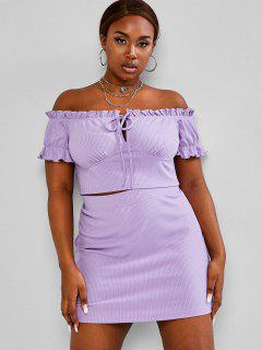 ZAFUL Plus Size Frilled Ribbed Tie Two Piece Skirt Set - Light Purple 2xl