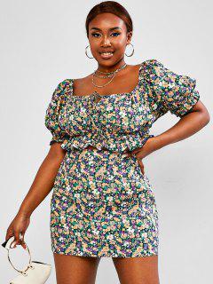 ZAFUL Plus Size Floral Puff Sleeve Ruffle Two Piece Skirt Set - Multi L