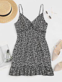 ZAFUL Tiny Floral Print Flounced Dress - Black S