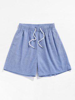 ZAFUL Pinstripe Print Drawstring Beach Shorts - Light Blue L