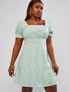 ZAFUL Ruched Ditsy Floral Plus Size Milkmaid Mini Dress - Light Green Xl