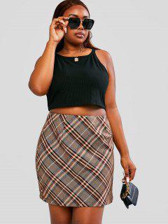 ZAFUL Plus Size Ribbed Tank Top And Plaid Skirt Set - Multi 5xl