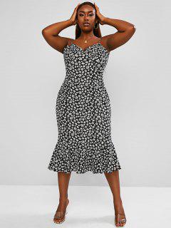 ZAFUL Plus Size Daisy Print Pep Hem Cami Dress - Black 3xl