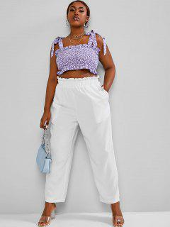 ZAFUL Plus Size Floral Print Top Paperbag Waist Two Piece Pants Set - Purple 2xl