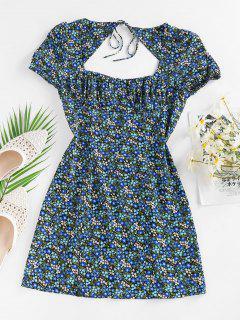 ZAFUL Ditsy Print Open Back Slit Dress - Black M