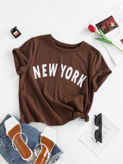 ZAFUL Basic New York Graphic Roll Sleeve Tee - Deep Coffee M