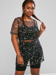 ZAFUL Plus Size Sheer Mesh Metallic Glitter Moon Star Top Set - Black Xl