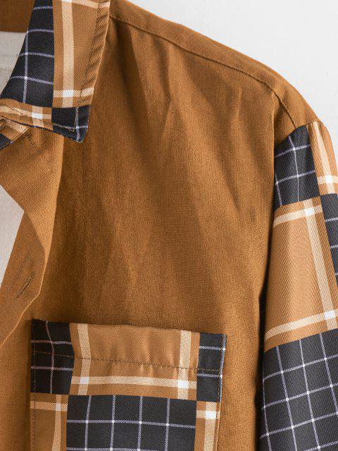 women's ZAFUL Plaid Pattern Pocket Patch Long Sleeve Shirt - COFFEE L Mobile