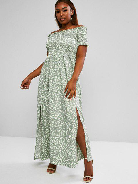 fancy ZAFUL Plus Size Off Shoulder Ditsy Print Shirred Bodice M-slit Maxi Dress - LIGHT GREEN L Mobile