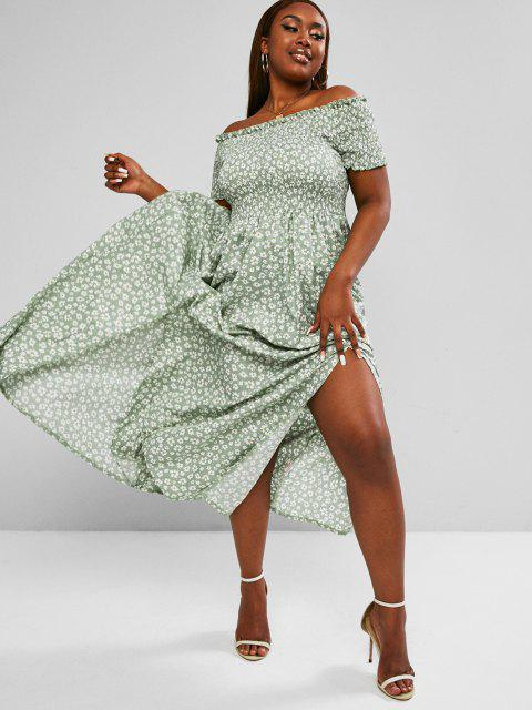 sale ZAFUL Plus Size Off Shoulder Ditsy Print Shirred Bodice M-slit Maxi Dress - LIGHT GREEN 2XL Mobile