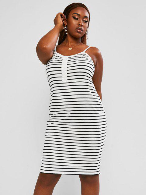 hot ZAFUL Plus Size Striped Mock Button Straight Cami Dress - MULTI 5XL Mobile