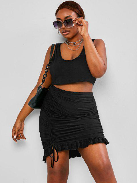 fancy ZAFUL Plus Size Cropped Tank Top Cinched Ruffle Skirt Two-Piece Set - BLACK 2XL Mobile