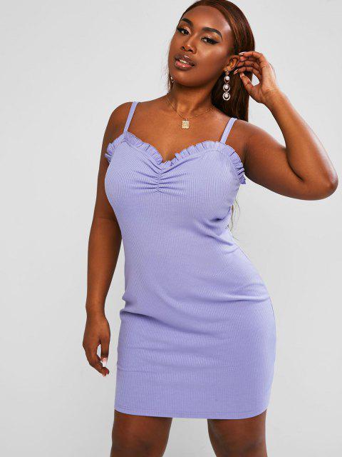shop ZAFUL Ruched Frilled Ribbed Plus Size Mini Dress - LIGHT PURPLE 2XL Mobile