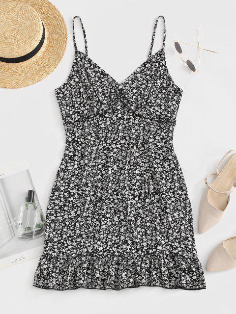affordable ZAFUL Tiny Floral Print Flounced Dress - BLACK L Mobile