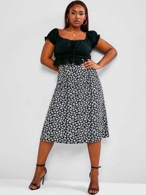ladies ZAFUL Plus Size Cinched Ruched Top and Ditsy Print Skirt Set - BLACK 5XL Mobile