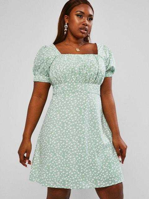 best ZAFUL Ruched Ditsy Floral Plus Size Milkmaid Mini Dress - LIGHT GREEN 5XL Mobile