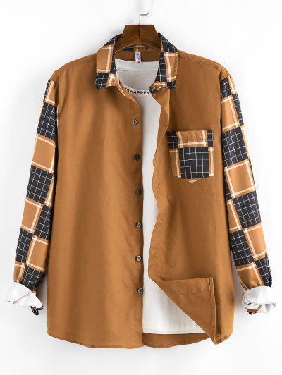 ZAFUL Plaid Pattern Pocket Patch Long Sleeve Shirt - Coffee M
