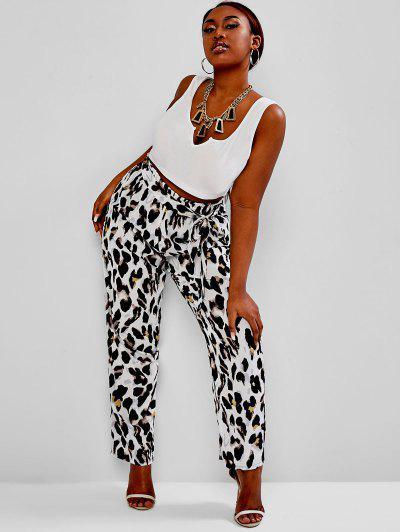 ZAFUL Plus Size V-notched Leopard Belted Paperbag Pants Set - Multi Xl