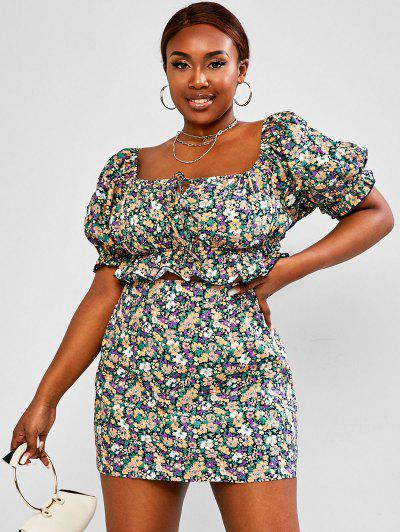 ZAFUL Plus Size Floral Puff Sleeve Ruffle Two Piece Skirt Set - Multi 2xl
