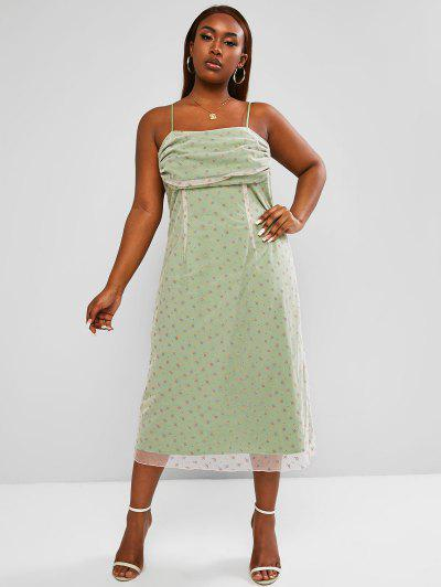 ZAFUL Plus Size Mesh Ditsy Floral Double Layer Ruched Dress - Light Green 2xl