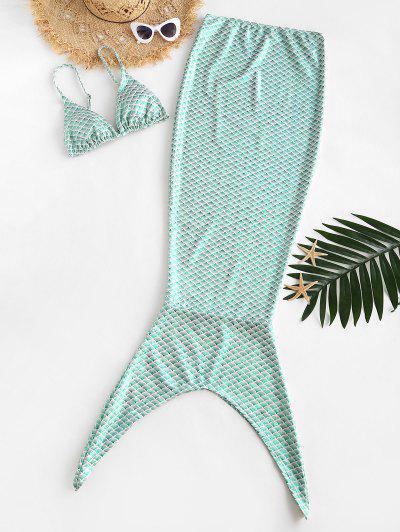 ZAFUL Mermaid Print Padded Shiny Skirt Bikini Set - Green L
