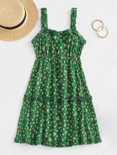 ZAFUL Ditsy Print Frilled Back Knot Tiered Sundress - Green L