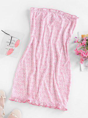 zaful ZAFUL Ditsy Print Ruffle Mini Tube Dress