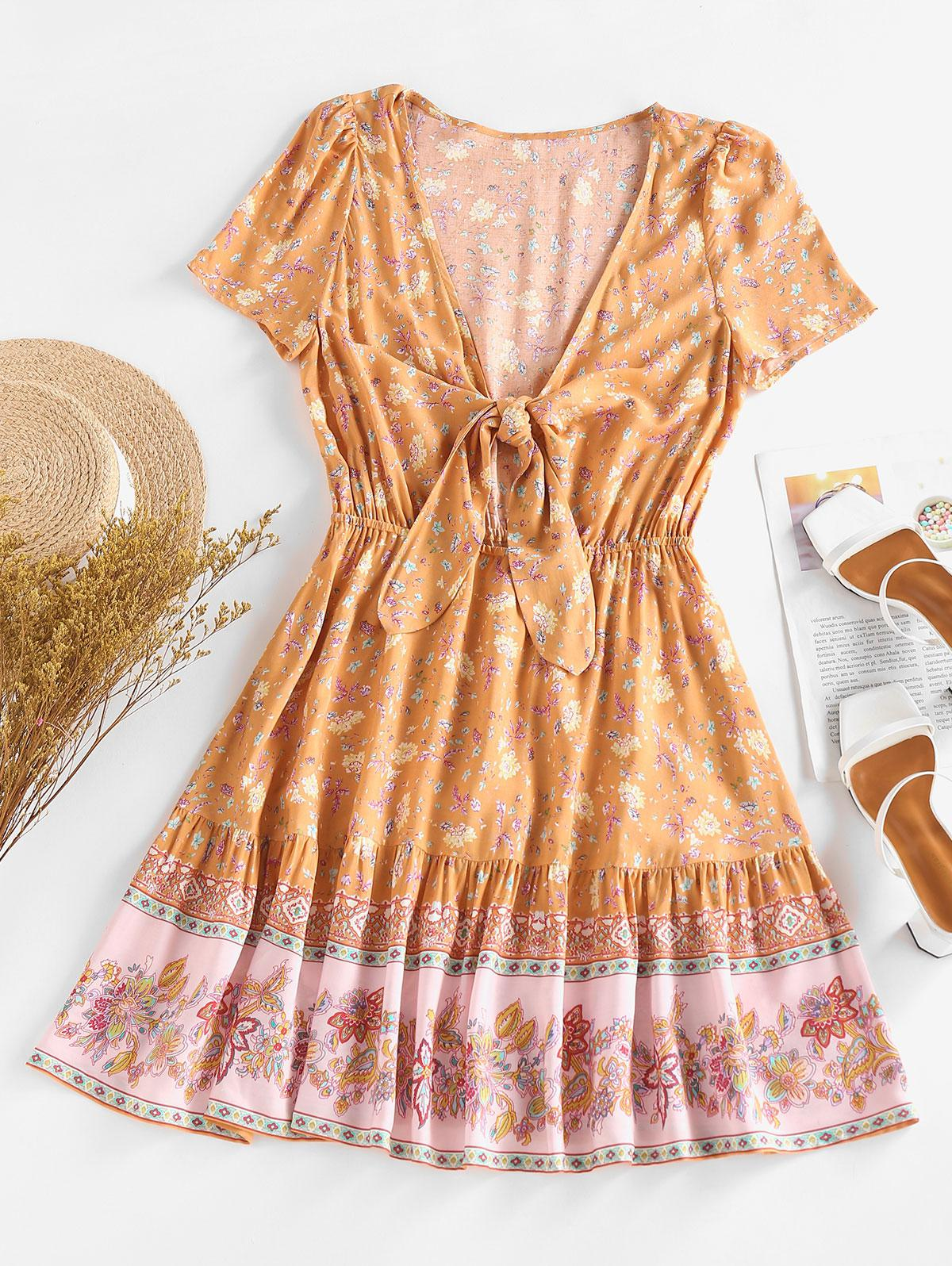 ZAFUL Knotted Floral Printed Mini Day Dress