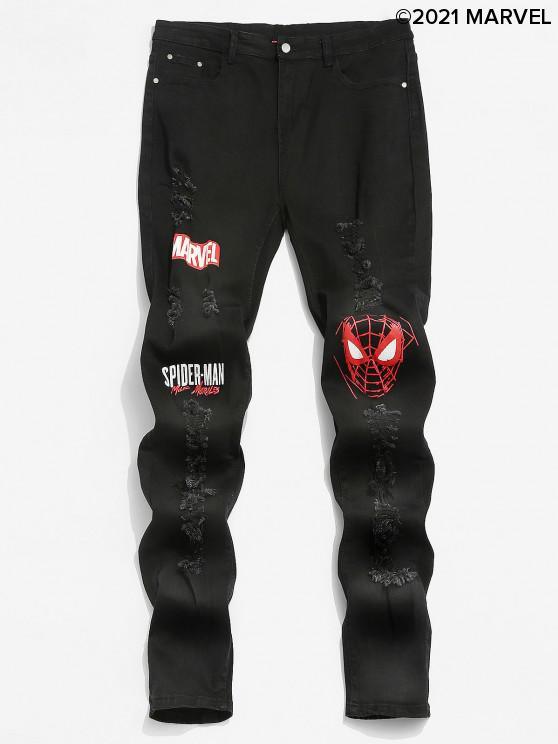 chic Marvel Spider-Man Pattern Ripped Design Jeans - BLACK L