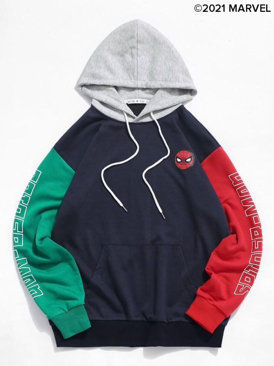 outfit Marvel Spider-Man Letter Print Colorblock Hoodie - MIDNIGHT BLUE L