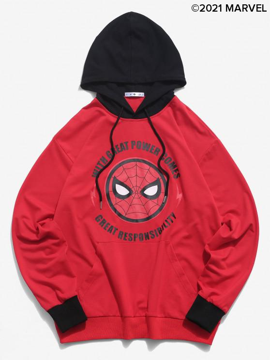 women Marvel Spider-Man Letter Graphic Colorblock Hoodie - MULTI M