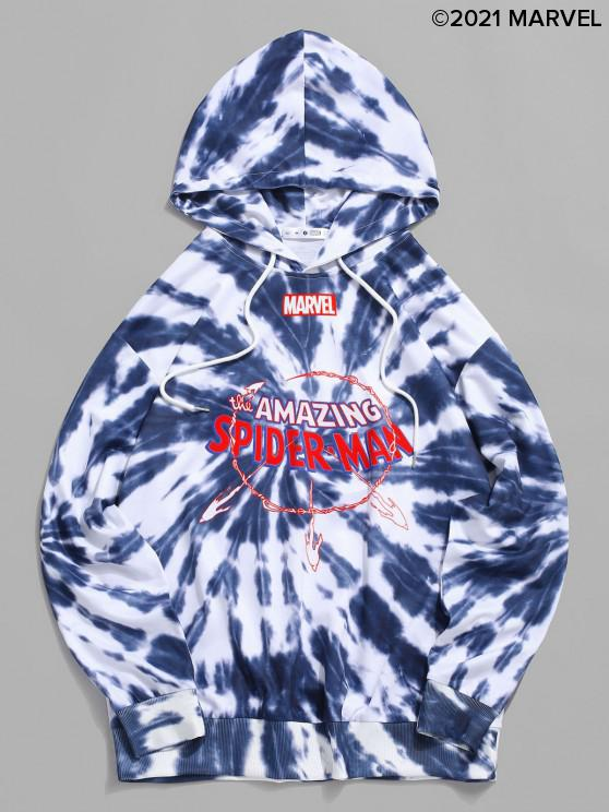outfits Marvel Spider-Man Amazing Graphic Tie Dye Hoodie - BLUE GRAY S