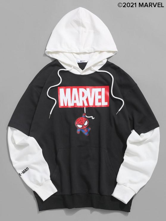 new Marvel Spider-Man Graphic Faux Twinset Hoodie - BLACK S