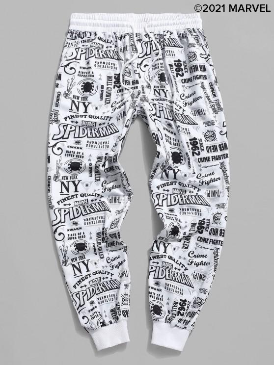 fancy Marvel Spider-Man Graphic Pattern Jogger Sweatpants - WHITE M